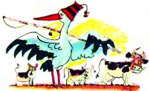 Як журавлі пасуть корів