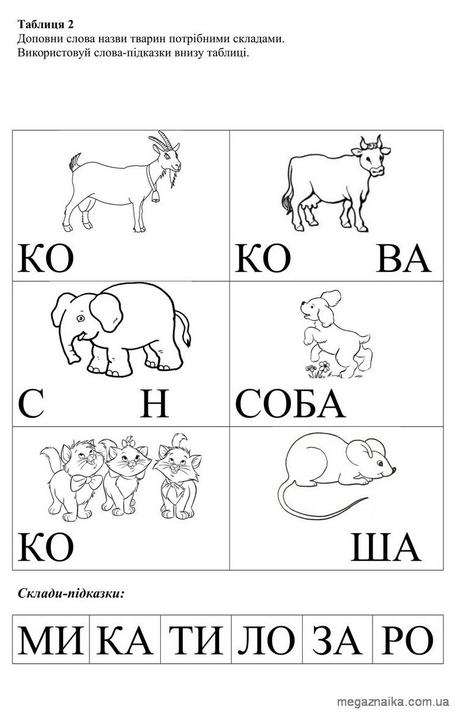 Таблиця 2 Доповни слова назви тварин потрібними складами.